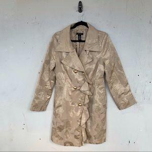 Arden B Metallic Gold Ruffle Leopard Trench Jacket